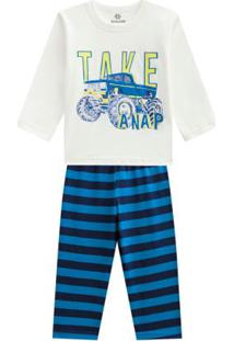 Pijama Menino Em Malha Listrado Off White