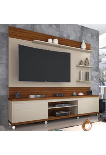 Estante Para Tv Até 72 Polegadas 2 Portas Rodízios Cedro White Freijo - Germai