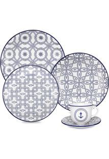 Aparelho De Jantar Floreal Náutico - 20 Peças - Oxford - Branco / Azul