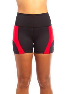 Bermuda De Corrida Rh X4 Sports Recortes Preta/Vermelha - Preto - Feminino - Poliamida - Dafiti