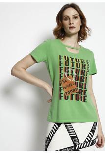 Camiseta Com Recorte Vazado- Verde & Amarela- Coca-Ccoca-Cola