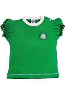 Baby Look Reve D'Or Sport Cores Clube Palmeiras Verde E Branca
