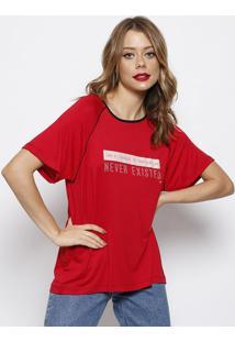 Camiseta Com Inscriã§Ãµes & Recortes- Vermelha & Branca