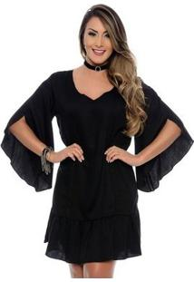 Vestido Bata B'Bonnie Lavínia Manga Flare - Feminino-Preto