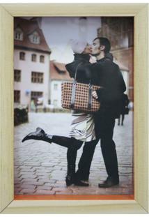 Porta-Retrato Wood Natural E Laranja 17X19Cm