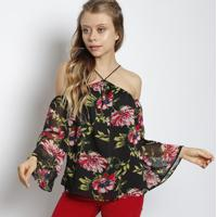 67f955ea04 Blusa Floral Com Transparência- Preta   Pinkmy Place