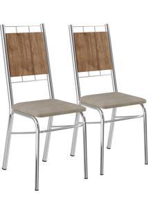 Kit 2 Cadeiras Mdp Native Tecido Retrô Metalizado Móveis Carraro
