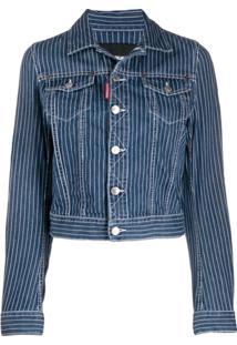 Dsquared2 Jaqueta Jeans Risca De Giz - Azul