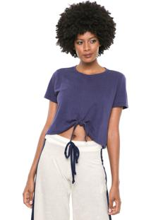 Camiseta Cropped Cia.Maritima Amarraã§Ã£O Azul-Marinho - Azul Marinho - Feminino - Poliã©Ster - Dafiti