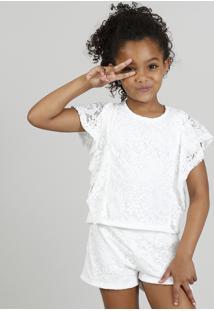 Conjunto Infantil De Blusa + Short Em Renda Floral Branco