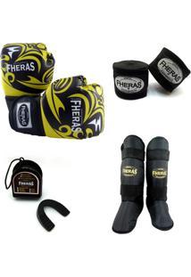 Kit Muay Thai Luva Bucal Caneleira Bandagem 14 Oz Tribal - Masculino