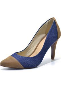 Scarpin Flor Da Pele Cap Toe Jeans Azul Marinho