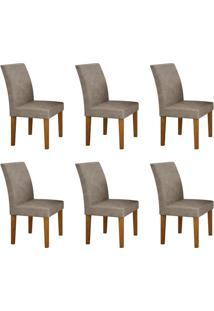 Conjunto Com 6 Cadeiras Olímpia Imbuia Mel E Cinza
