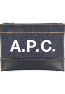 A.P.C. Bolsa Clutch Jeans Com Logo - Azul