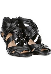 55552e075 Sandália Couro Shoestock Salto Fino Drapeada Feminina - Feminino