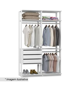 Guarda Roupa Clothes- Branco- 220X140X44,5Cmbentec