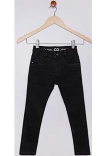Calça Jeans Skinny Infantil Para Menino - Preto