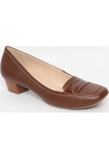 Sapato Em Couro Com Pespontos- Marrom- Salto: 7Cmjorge Bischoff
