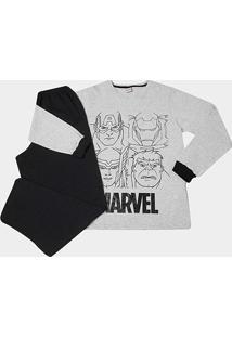 Pijama Infantil Evanilda Avengers Marvel Masculino - Masculino