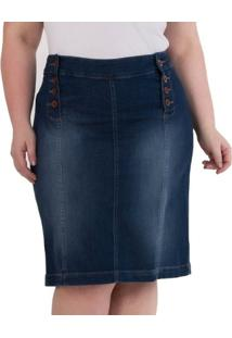 85b926511 Saia Confidencial Extra Plus Size Midi Jeans Com Botões Feminina - Feminino
