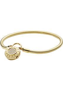 Bracelete Shine Cadeado- Incolor & Dourado- 16Cmpandora