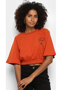 Camiseta Triton Cropped Feminina - Feminino-Laranja