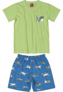 Conjunto Infantil Shark Menino Verde