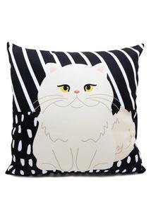 Capa Almofada Nita Faco Gato Persa Preto E Branco