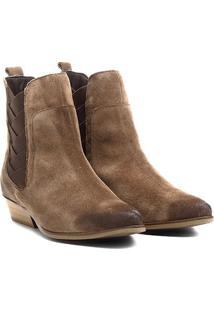 Bota Couro Chelsea Shoestock Bico Fino Elásticos Transpassados Feminina - Feminino-Bege