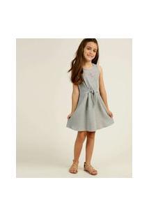 Vestido Infantil Sem Manga Canelado Laço Tam 4 A 10