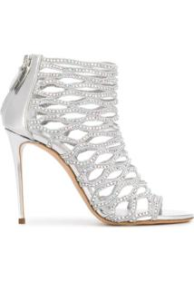Casadei Gladiator Peep Toe Sandals - Prateado