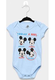Body Infantil Marlan Mickey Bebê - Masculino-Azul Claro
