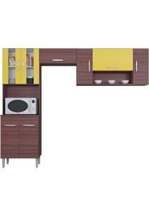 Cozinha Com 8 Portas Manuela Capuccino/Amarelo - Lc Móveis