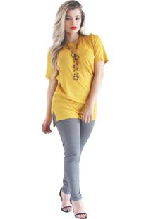 Camiseta It'S Moda Long Podrinha Amarela