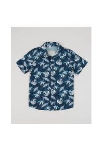 Camisa Infantil Estampada Floral Manga Curta Azul Marinho
