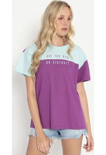Camiseta Com Recortes- Roxa & Azul Claro- Colccicolcci