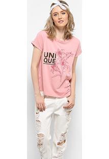 Camiseta Drezzup Estampa Estonada Fenda Lateral Feminina - Feminino