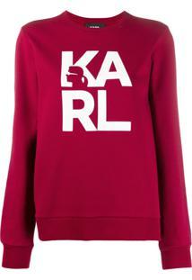 Karl Lagerfeld Camiseta Com Logo Karl Square - Vermelho