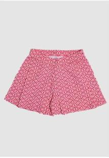 Shorts Infantil Praaiah Plisse Feminino - Feminino-Rosa
