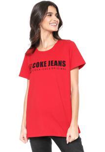 Camiseta Coca-Cola Jeans Aroma Lettering Vermelha