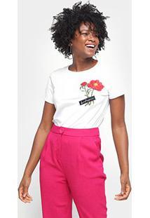 Camiseta Lança Perfume Bordada Feminina - Feminino