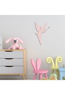 Escultura De Parede Em Mdf Fada Infantil Rosa - Médio