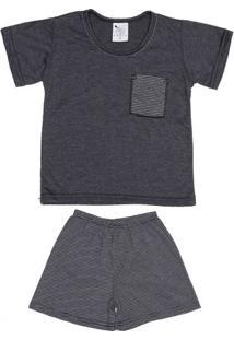 Pijama Curto Juvenil Para Menino - Cinza