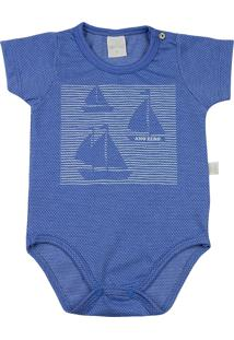 Body Ano Zero Bebê Malha Poá Híbrido Barquinhos - Royal