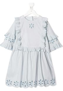 Stella Mccartney Kids Vestido Com Bordado Floral - Azul