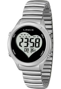 Relógio Feminino Lince Digital Sdph063L Bpsx - Unissex-Prata