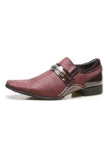 Sapato Social Calvest Em Couro Com Textura Viena 1930C592 Bordô