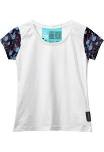 Camiseta Baby Look Feminina Algodão Estampa Folha Moderna - Feminino-Branco+Azul