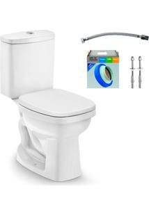 Kit Bacia Com Caixa Acoplada E Assento Art Branco + Conjunto De Fixação Flexível E Anel De Vedação - Incepa - Incepa