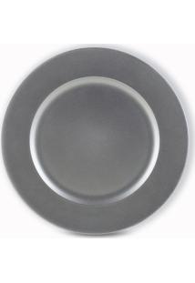 Sousplat Liso Plástico 6 Peças 33 Cm Silver Bon Gourmet
